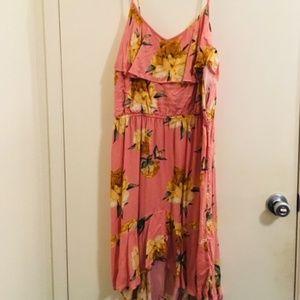 Xhiliration pink floral dress Sz XL